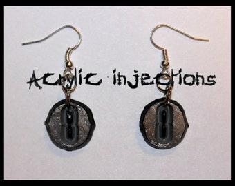 Evil Eye Earrings (Silver tones, Glittery)