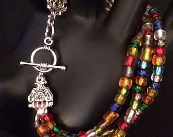 Triple Strand Glass Bead Bracelet
