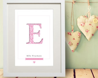 Personalised Letter & Name Print Gift Bespoke Unique Present Pink Girl Birthday New Born