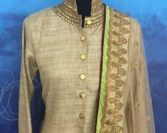 Gold Khadi Silk Suit & Satin Palazzo