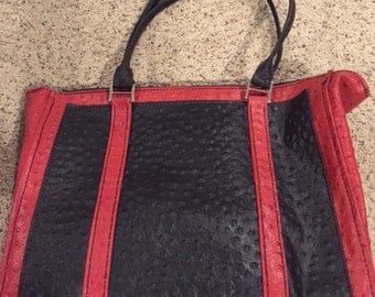 Handmade Ostrich Print Leather Handbag
