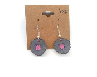 Gray round sheep earring in shrinky dink