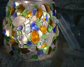 Sea Glass Lighted Canister