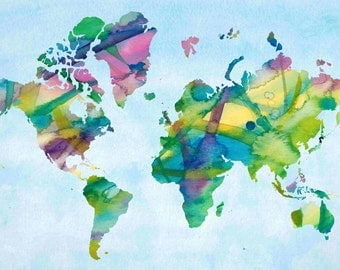 Watercolor world map etsy 2018 images pictures original items similar to watercolor world map illustration your watercolor world map etsy gumiabroncs Images