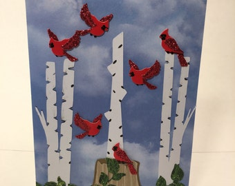Cardinals in Flight Greeting Card