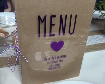 Purple Rustic Wedding Menu Card