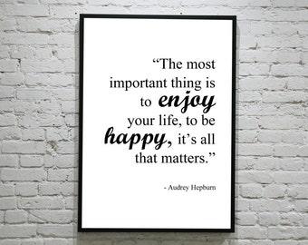 Audrey Hepburn Quote A4 Print - Black