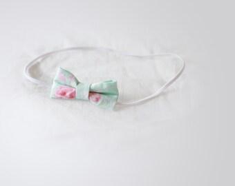Mint Floral Bow Headband