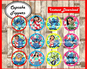 lilo and stitch cupcakes toppers, printable lilo and stitch party toppers, Lilo & Stitch cupcakes toppers