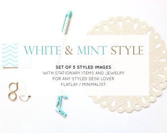 Set of 5 Photos: Styled Stock Photos | Desk Flatlay White and Mint Minimalist | Photography Digital Image