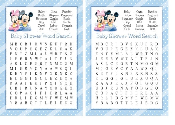 mickey baby shower word search game baby shower game baby shower
