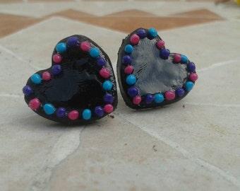 My Little Black Heart Clay Earrings