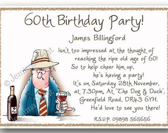 Printed Personalised Birthday Party Invitations 30th / 40th / 50th / 60th / 70th / 80th /90th / 100th male funny x10 with envelopes