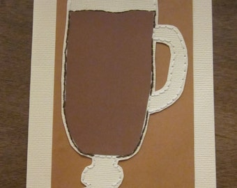 Hand Embroidery Coffee Greeting Card