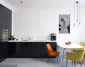 "Mi-elle,women portrait, black and white acrylic, 24""x40"""
