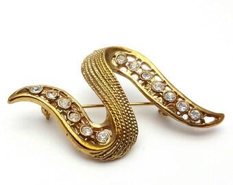 Rhinestone and Gold tone Metal Brooch Vintage Snake Shaped