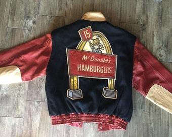 VINTAGE McDONALDS LEATHER bomber style jacket