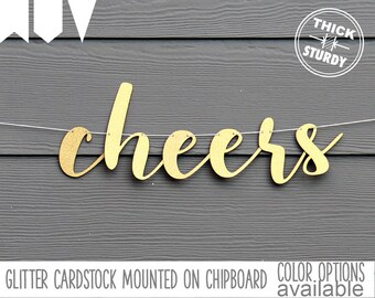 cheers banner, wedding banner, gold glitter party decorations, cursive banner