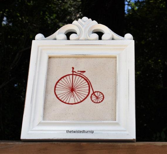Hand Drawn Machine Embroidery Design Vintage Retro Bicycle 4x4 Tea Towel Kitchen Bluework Redwork