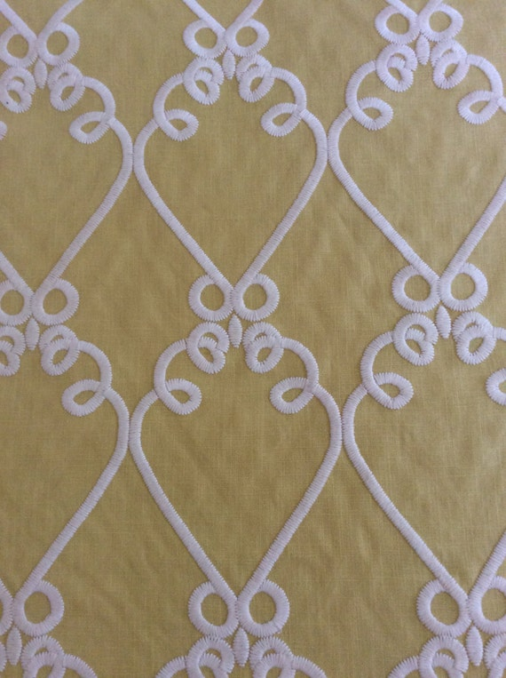 2yds Stunning chartreuse green fabric with heavy embroidered scrollwork, Fabric by the yard