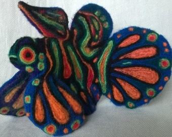 Needle felted animal,fish Mandarin