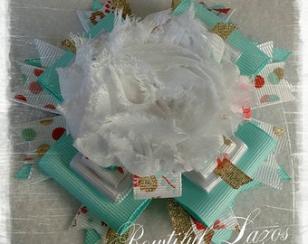 Mint, gold, white polka dot pinwheel hair bow