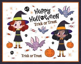 Cute Halloween Clipart, Halloween Clip Art, Illustration, Vector, Graphics, Commercial Use (Printable) | C1602