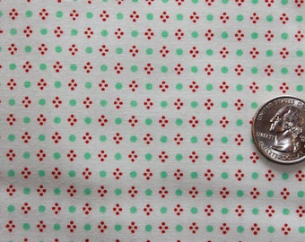 HANDMADE Bonnie and Camille Red/Aqua Dot On Cream 1 Yard