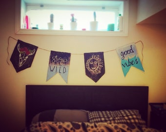 Hand-Painted Wall Hanging -- Multi-Banner