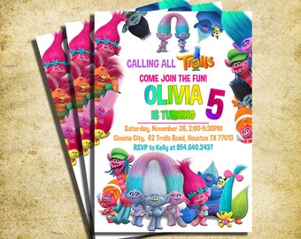 Trolls Invitations Etsy