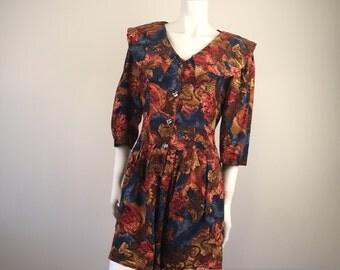 Vintage Feminine Fall ROMPER by: Freda, Shorts Long Sleeves