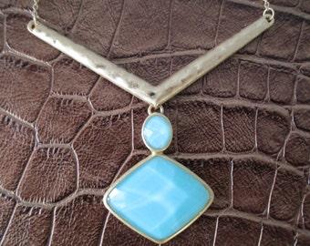 Matt Gold & Blue Geometric Necklace