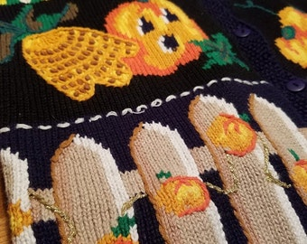 Vintage Halloween PUMPKIN sweater Vest! Graveyard Ghost Haunted Candy Corn 90's 80's SCARECROW Back!!