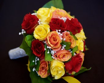 Colourful Rose Wedding Bridal Bouquet