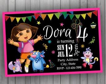 Dora Invitation , PERSONALIZED Dora Birthday Invitation Chalkboard Digital Printable Invitation Baby Shower Invitation