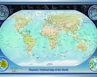 Laminated Physical World Map Political Atlas Educational School Type Poster Wall Chart - A2 Size