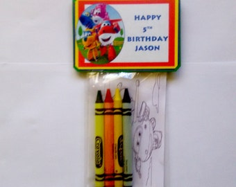 12 Sets of Personalized SuperWings Birthday Party Favor Bags with mini coloring pages and crayons
