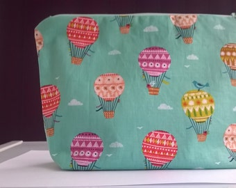 Makeup bag, cosmetic, bag, toiletries bag, hot air balloon fabric