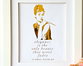 Personalized Gold Foil Print, Personalized Gift, Audrey Hepburn Quote, Gift for Her, Birthday Gift, Inspirational Quotes