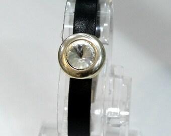 Leather black cabochon rhinestones bracelet