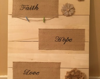 Faith, Hope, Love Wooden Wall Hanging