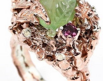 Superb luxury ring Sterling Silver 925 with natural gemstones: Prehnite + Rhodolite