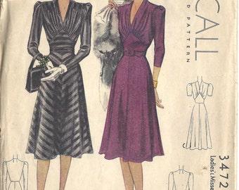 "1939 WW2 Vintage Sewing Pattern B36"" DRESS (1357) McCall 3472"