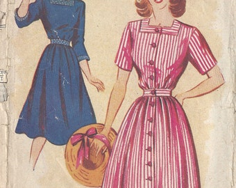 "1940s Vintage Sewing Pattern B34"" DRESS (R737)  Weldons  177"