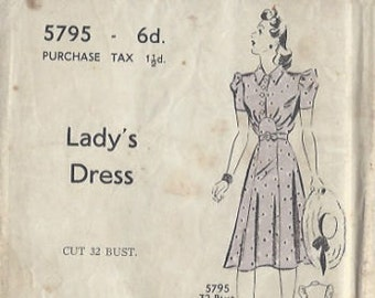 "1940s Vintage Sewing Pattern B32"" DRESS (R107) Blackmore 5795"