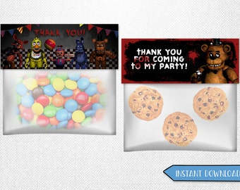 Five Nights at Freddy's bag toppers, Five Nights at Freddy's favor bags, Five Nights at Freddy's party favor!