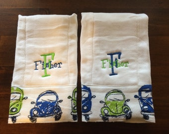VW VolkswagenBaby Burp Cloths or VW Onesie, Personalized, vw Bug, vw Bus, Vintage, Monogrammed, Embroidered, Baby Boy, VW Baby