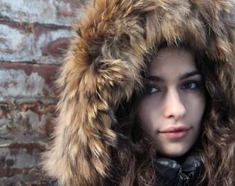 Raccoon Fur Hood trim, fur trim  (natural color)