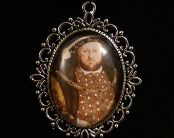 King Henry VIII Organza Ribbon Cameo Pendant Choker Necklace