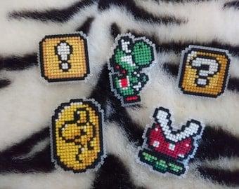 Cross Stitch Nintendo Badges